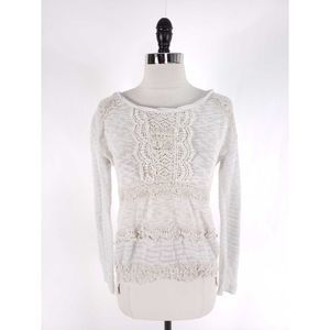 Anthro One September Crochet Knit Pullover Top